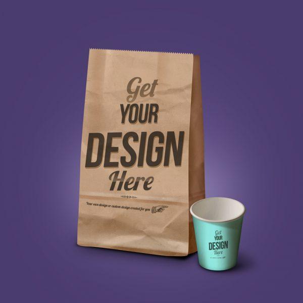 Grocery bag coffee cup mockup